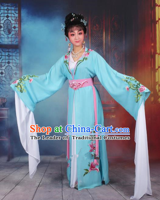 Traditional China Beijing Opera Young Lady Hua Tan Costume Princess Blue Embroidered Dress, Ancient Chinese Peking Opera Diva Embroidery Clothing