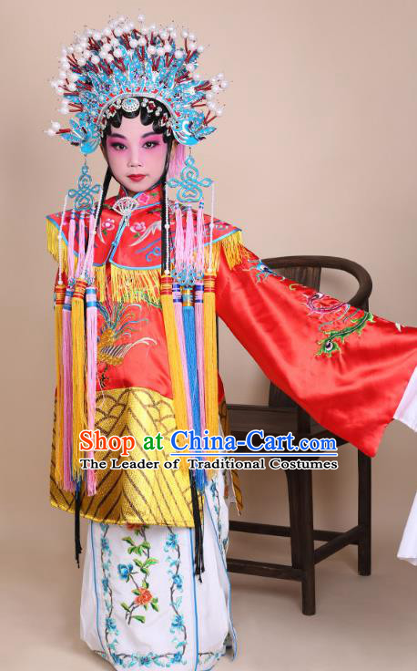Traditional China Beijing Opera Palace Lady Costume Senior Concubine Embroidered Robe Dress, Ancient Chinese Peking Opera Diva Hua Tan Embroidery Clothing for Kids