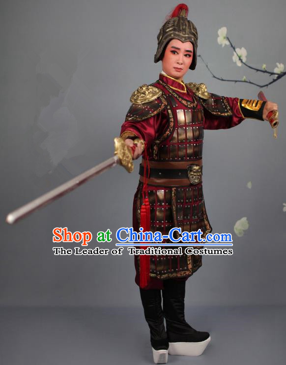 Traditional China Beijing Opera Swordplay Armour Costume, Ancient Chinese Peking Opera Blues Female General Clothing