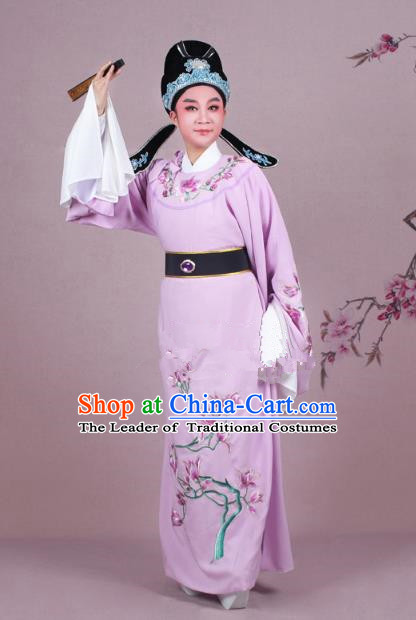 Traditional China Beijing Opera Niche Costume Pink Embroidered Robe and Headwear, Ancient Chinese Peking Opera Embroidery Mangnolia Lang Scholar Clothing