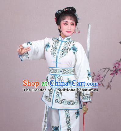 Traditional China Beijing Opera Swordplay Costume Embroidered White Clothing, Ancient Chinese Peking Opera Blues Female General Embroidery Dress Clothing