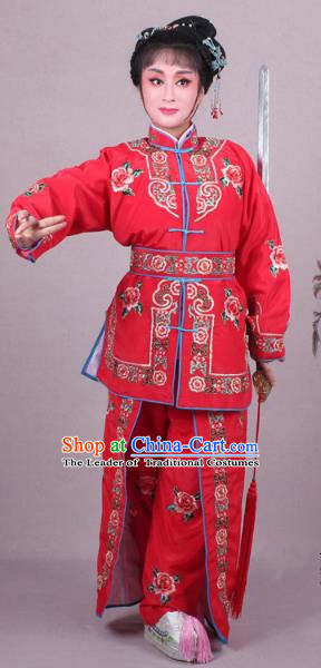 Traditional China Beijing Opera Swordplay Costume Embroidered Red Clothing, Ancient Chinese Peking Opera Blues Female General Embroidery Dress Clothing