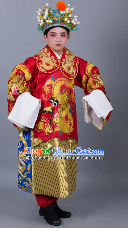 Traditional China Beijing Opera Costume Prime Minister Red Embroidered Robe and Headwear, Ancient Chinese Peking Opera Bao Zheng Embroidery Dragon Gwanbok Clothing for Kids