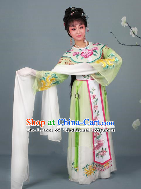 Top Grade Professional Beijing Opera Diva Costume Palace Lady Green Embroidered Dress, Traditional Ancient Chinese Peking Opera Princess Embroidery Peony Clothing