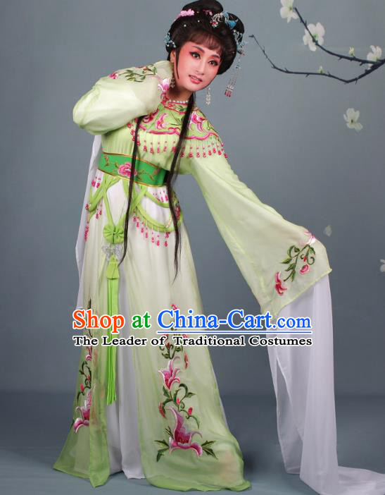Top Grade Professional Beijing Opera Diva Costume Hua Tan Green Embroidered Clothing, Traditional Ancient Chinese Peking Opera Princess Embroidery Dress