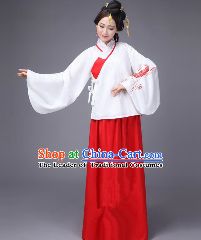 Traditional Ancient Chinese Fairy Dress Palace Lady Sleeve Placket Wedding Costume, Elegant Hanfu Chinese Ming Dynasty Imperial Princess Embroidered Clothing for Women