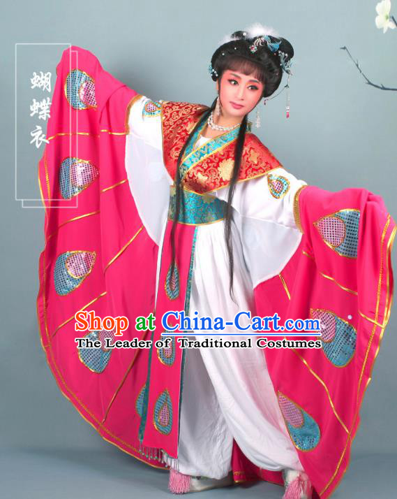 Top Grade Professional Beijing Opera Diva Costume Butterfly Lovers Dress, Traditional Ancient Chinese Peking Opera Princess Embroidery Clothing