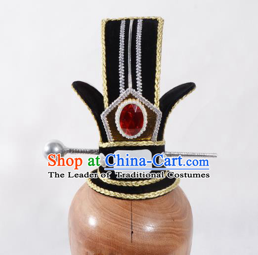 Top Grade Professional Beijing Opera Han Dynasty Minister Headwear, Traditional Ancient Chinese Peking Opera Chancellor Hat