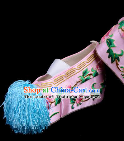 Top Grade Professional Beijing Opera Hua Tan Embroidered Pink Shoes, Traditional Ancient Chinese Peking Opera Diva Princess Blood Stained Shoes