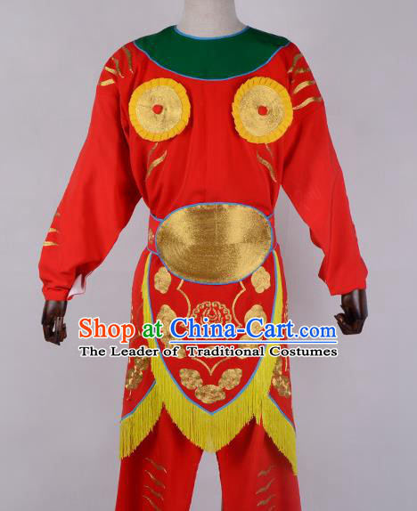 Traditional China Beijing Opera Takefu Costume, Ancient Chinese Peking Opera Wu-Sheng Warrior Embroidery Clothing