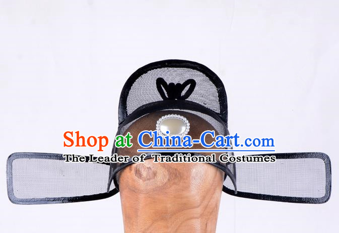 Top Grade Professional Beijing Opera Niche Costume Official Hat Headwear, Traditional Ancient Chinese Peking Opera Young Men Headpiece Black Gauze Cap