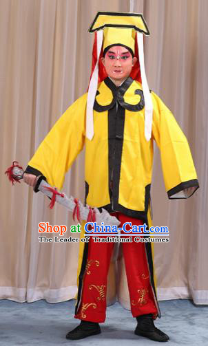 Traditional China Beijing Opera Takefu Costume, Ancient Chinese Peking Opera Wu-Sheng Military Officer Embroidery Yellow Clothing