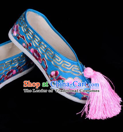 Top Grade Professional Beijing Opera Hua Tan Embroidered Plum Blossom Blue Cloth Shoes, Traditional Ancient Chinese Peking Opera Diva Princess Blood Stained Shoes