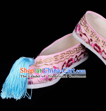 Top Grade Professional Beijing Opera Hua Tan Embroidered Plum Blossom Pink Cloth Shoes, Traditional Ancient Chinese Peking Opera Diva Princess Blood Stained Shoes