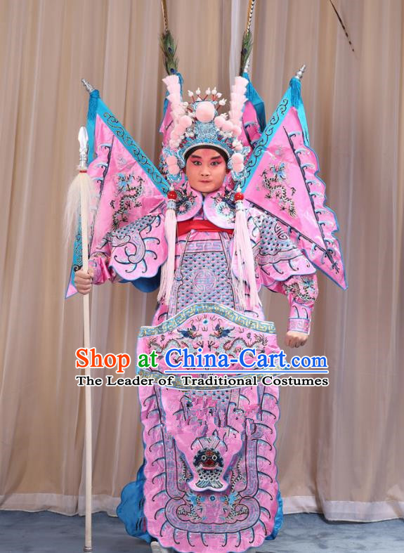 Traditional China Beijing Opera Takefu General Pink Costume and Headwear Complete Set, Ancient Chinese Peking Opera Wu-Sheng Military Officer Clothing