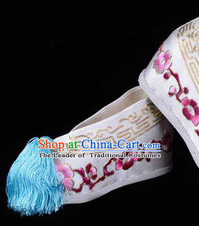Top Grade Professional Beijing Opera Hua Tan Embroidered Plum Blossom Hidden Elevator White Satin Shoes, Traditional Ancient Chinese Peking Opera Diva Princess Blood Stained Shoes