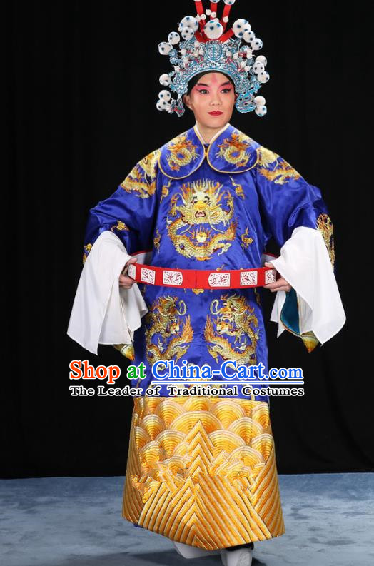 Top Grade Professional Beijing Opera Emperor Costume Royalblue Embroidered Robe and Shoes, Traditional Ancient Chinese Peking Opera Royal Highness Gwanbok Clothing