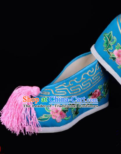 Top Grade Professional Beijing Opera Hua Tan Embroidered Peony Hidden Elevator Blue Satin Shoes, Traditional Ancient Chinese Peking Opera Diva Princess Blood Stained Shoes