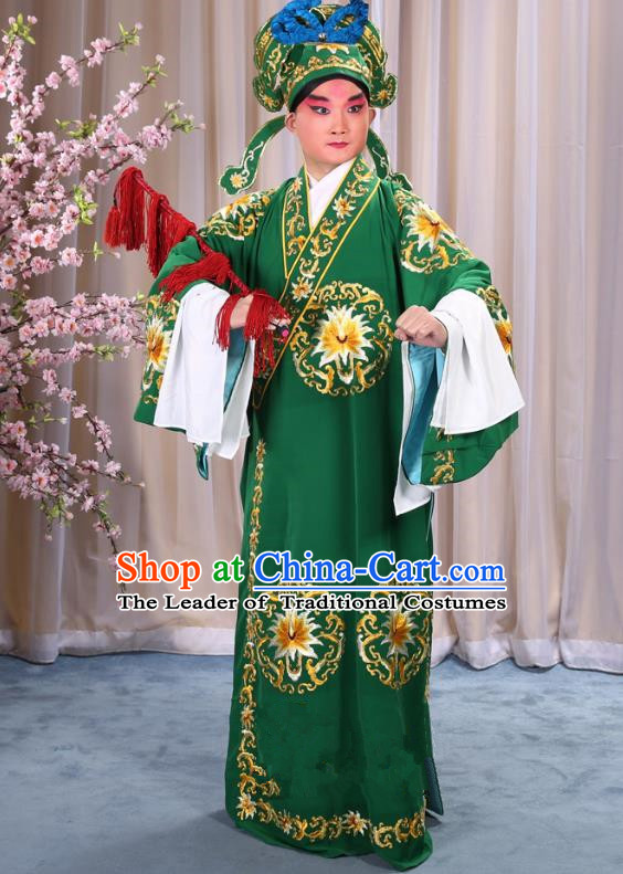 China Beijing Opera Niche Costume General Green Embroidered Robe and Headwear, Traditional Ancient Chinese Peking Opera Embroidery Military Officer Gwanbok Clothing