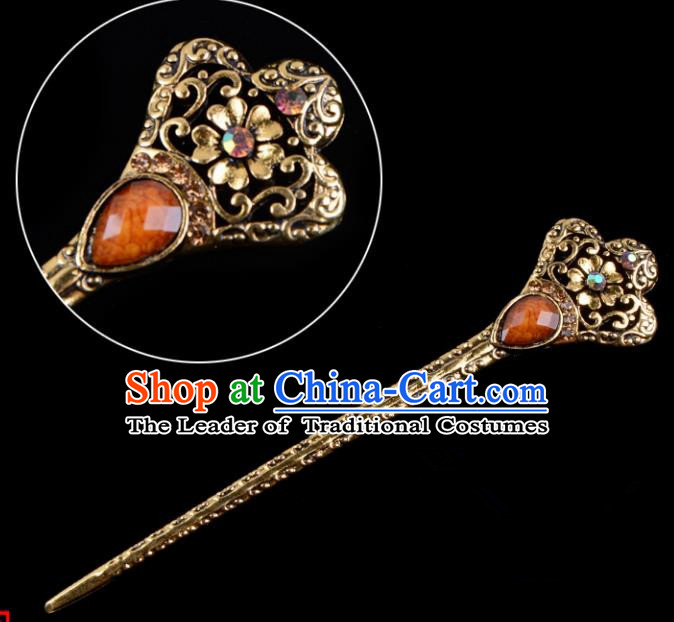 Traditional China Beijing Opera Hua Tan Pantaloon Hair Accessories Orange Hairpin, Ancient Chinese Peking Opera Women Hairpins Diva Kanzashi Headwear