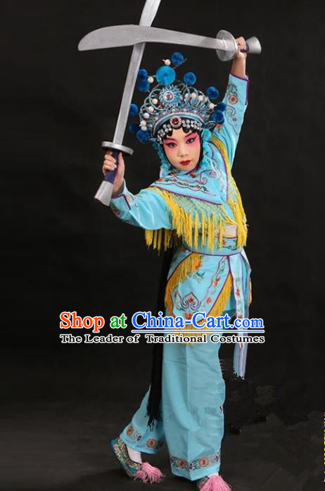 Traditional China Beijing Opera Female General Blue Costume and Headwear Complete Set, Ancient Chinese Peking Opera Swordplay Embroidery Clothing for Kids