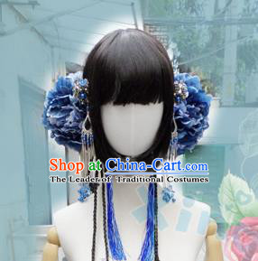 Traditional Handmade Chinese Ancient Classical Hair Accessories and Wigs Complete Set, Step Shake Hair Sticks Hair Jewellery, Hair Fascinators Hairpins for Women
