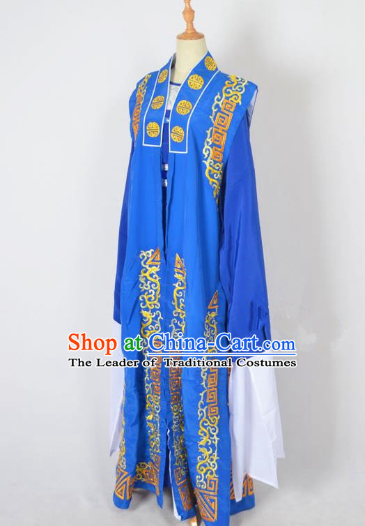Traditional Chinese Professional Peking Opera Old Men Costume, China Beijing Opera Milord Ministry Councillor Embroidery Blue Long Robe Clothing