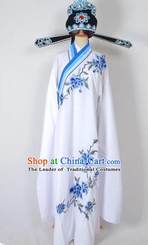 Traditional Chinese Professional Peking Opera Young Men Costume and Hat Complete Set, China Beijing Opera Shaoxing Opera Niche Lang Scholar Embroidery Peony White Long Robe Clothing