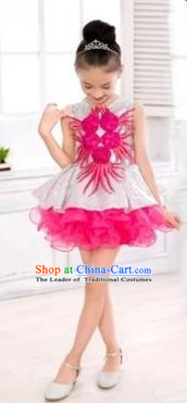 Top Grade Chinese Compere Professional Performance Catwalks Costume, Children Rosy Veil Bubble Dress Modern Dance Dress for Girls Kids