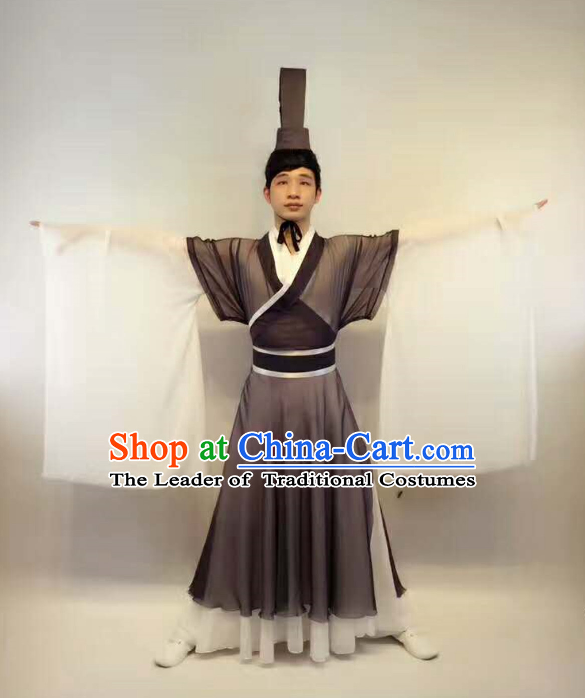 Professional Stage Performance Costumes Made to Order Custom Tailored Costumes Ancient Chinese Scholar Garment and Hat Complete Set