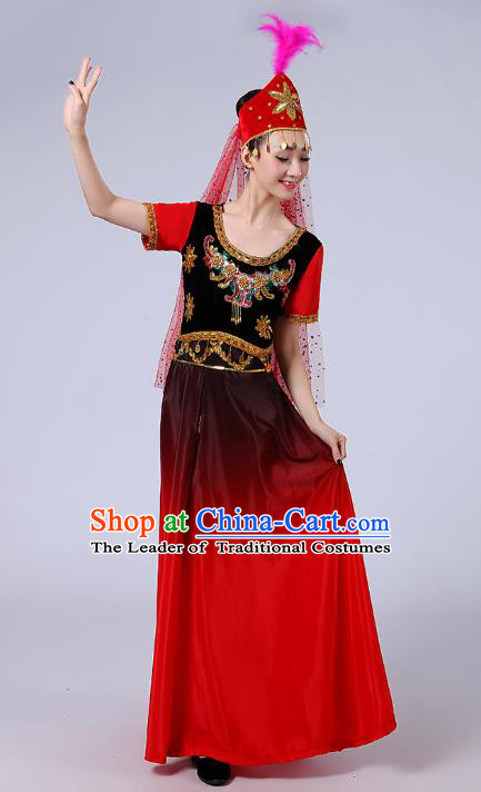 Traditional Chinese Uyghur Nationality Dance Costume, Folk Dance Ethnic Costume, Chinese Minority Nationality Uigurian Dance Dress for Women