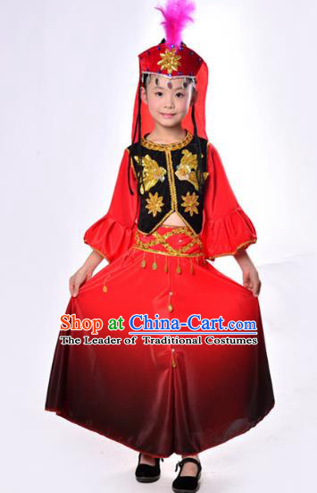 Traditional Chinese Uyghur Nationality Dance Costume, Children Folk Dance Ethnic Costume, Chinese Minority Nationality Uigurian Dance Dress for Kids