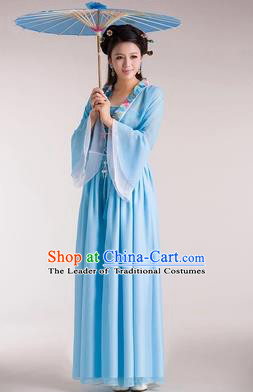 Traditional Chinese Classical Ancient Fairy Costume, China Tang Dynasty Princess Hanfu Blue Dress for Women