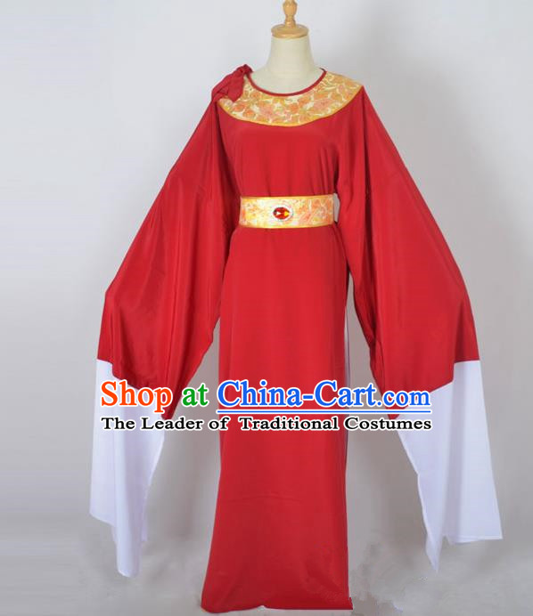 Traditional Chinese Professional Peking Opera Shaoxing Opera Old Men Costume, China Beijing Opera Ministry Councillor Clothing Red Long Robe and Belt Complete Set