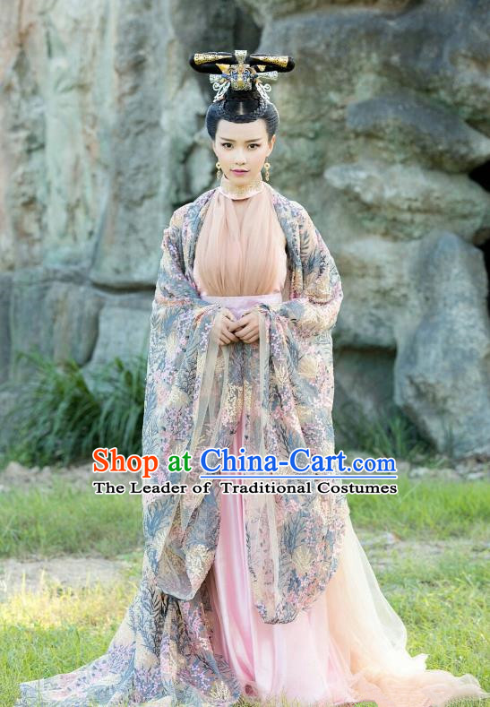 Traditional Chinese Tang Dynasty Imperial Concubine Costume and Headpiece Complete Set, China Ancient Hanfu Dress Dowager Embroidery Clothing