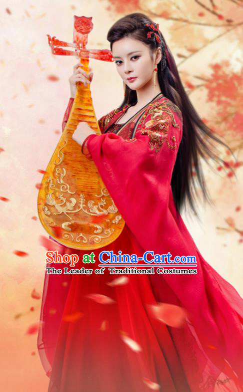 Traditional Chinese Tang Dynasty Imperial Consort Costume and Headpiece Complete Set, China Ancient Hanfu Dress Palace Lady Embroidery Dance Clothing