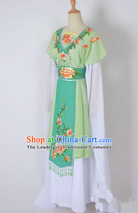 Traditional Chinese Professional Peking Opera Nobility Lady Water Sleeve Costume, China Beijing Opera Shaoxing Opera Royal Princess Embroidery Peony Green Dress Clothing