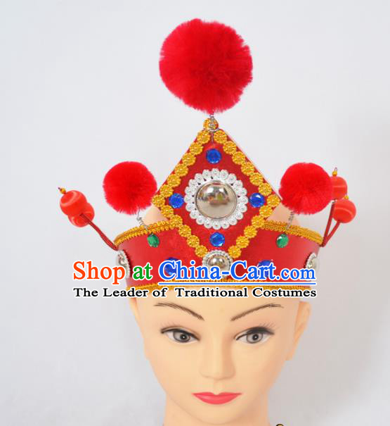 Traditional Handmade Chinese Classical Peking Opera Female General Red Hat, China Beijing Opera Warrior Takefu Headwear