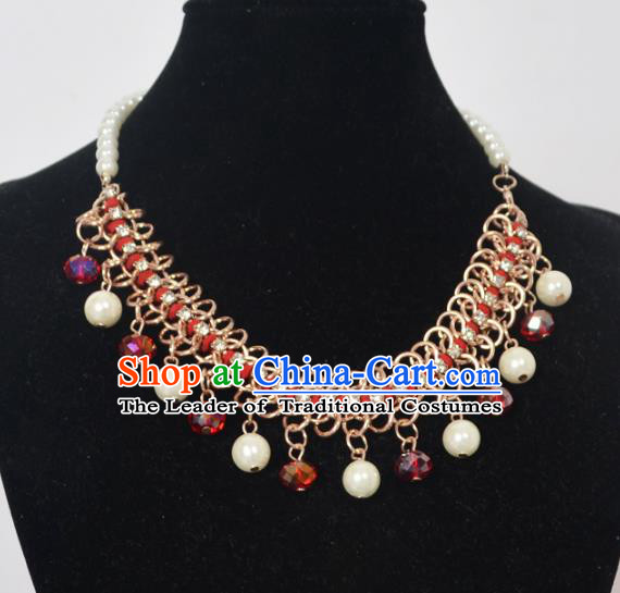 Traditional Handmade Chinese Classical Peking Opera Diva Accessories Red Necklace, China Beijing Opera Hua Tan Pearls Torque