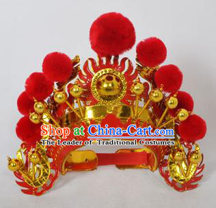 Traditional Handmade Chinese Classical Peking Opera Blues Accessories Red Venonat Hat, China Beijing Opera Swordplay Warriors Headwear