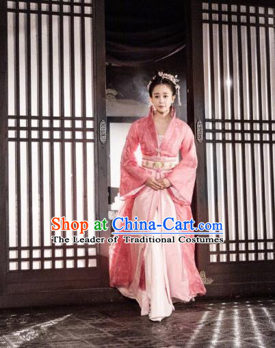 Traditional Chinese Tang Dynasty Imperial Princess Costume and Headpiece Complete Set, China Ancient Elegant Hanfu Palace Lady Dress Clothing for Women