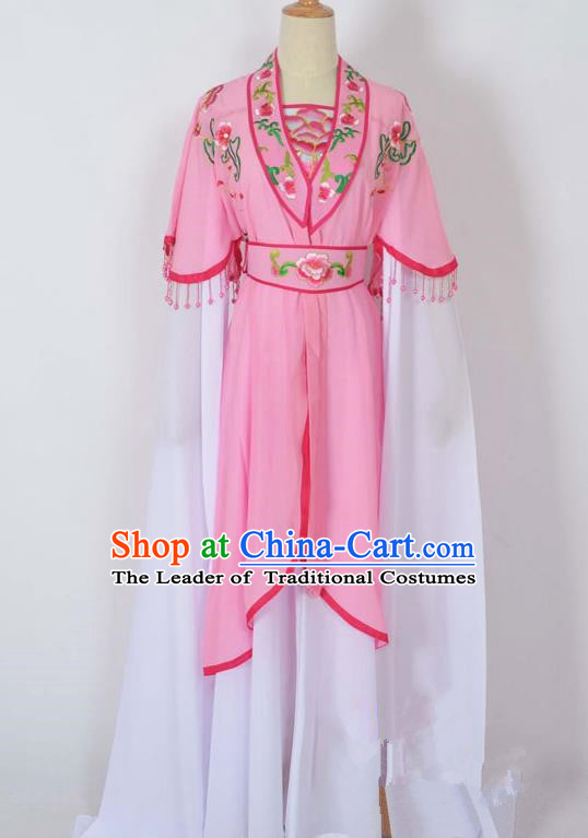 Traditional Chinese Professional Peking Opera Young Lady Costume Embroidery Pink Dress, China Beijing Opera Diva Hua Tan Water Sleeve Clothing