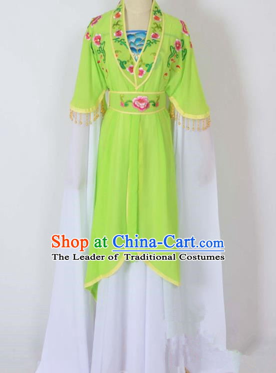 Traditional Chinese Professional Peking Opera Young Lady Costume Embroidery Light Green Dress, China Beijing Opera Diva Hua Tan Water Sleeve Clothing