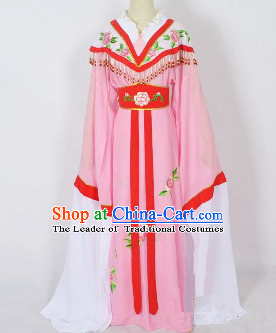 Traditional Chinese Professional Peking Opera Young Lady Princess Costume Pink Embroidery Dress, China Beijing Opera Diva Hua Tan Embroidered Robe Clothing