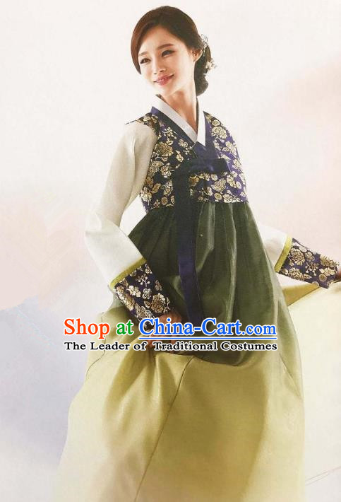 Traditional Korean Handmade Embroidery Bride Hanbok, Top Grade Korea Hanbok Wedding Navy Costume for Women