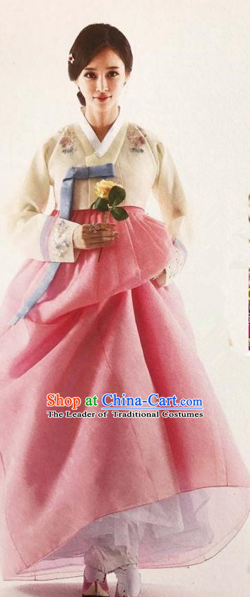 Traditional Korean Handmade Embroidery Bride Hanbok Pink Dress, Top Grade Korea Hanbok Wedding Costume for Women