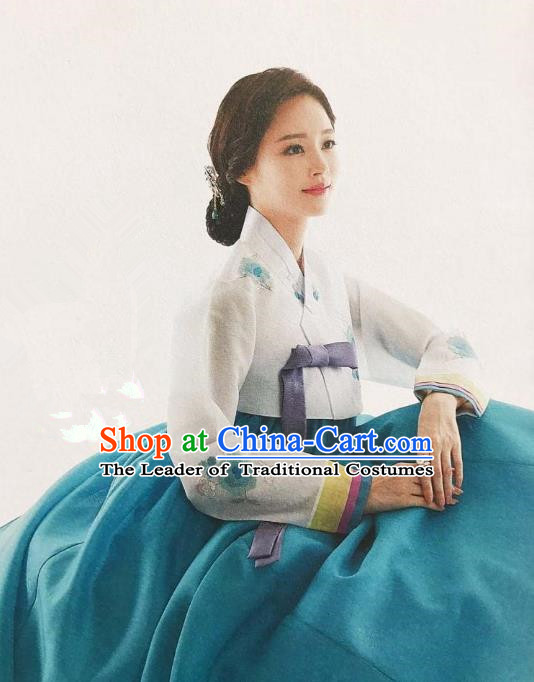 Traditional Korean Handmade Embroidery Bride Hanbok Green Dress, Top Grade Korea Hanbok Wedding Costume for Women