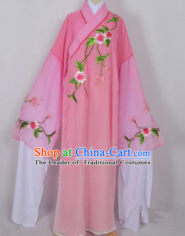 Traditional Chinese Professional Peking Opera Young Men Niche Water Sleeve Costume Pink Embroidery Robe, China Beijing Opera Nobility Childe Scholar Embroidered Clothing