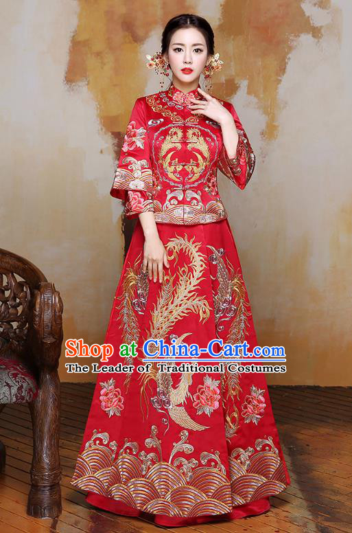 Traditional Ancient Chinese Wedding Costume Embroidery Xiuhe Suits, Chinese Style Wedding Dress Red Restoring Longfeng Dragon and Phoenix Flown Bride Toast Cheongsam for Women