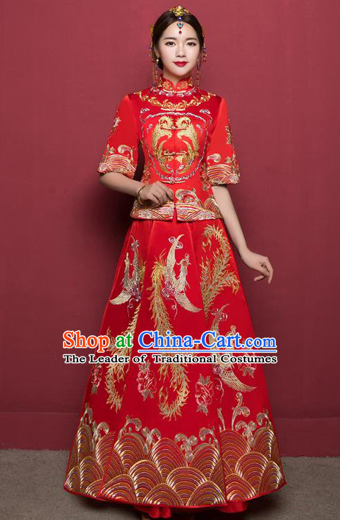 Traditional Ancient Chinese Wedding Costume Embroidery Middle Sleeve Xiuhe Suits, Chinese Style Wedding Dress Red Restoring Longfeng Dragon and Phoenix Flown Bride Toast Cheongsam for Women